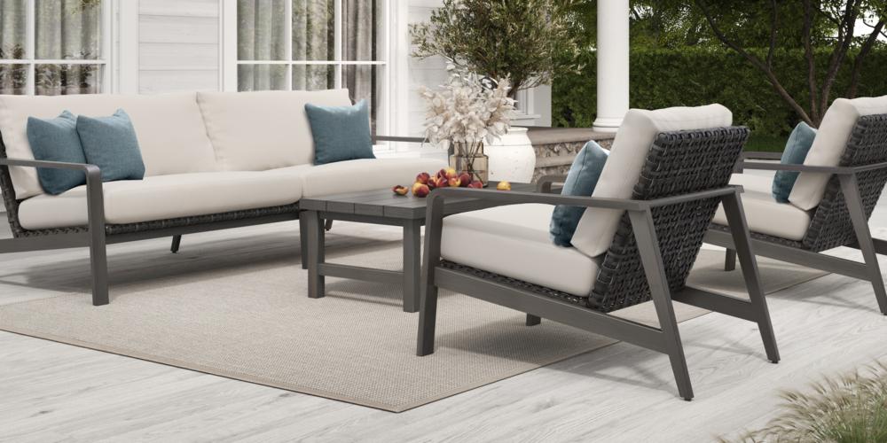 Antibes Seating with XL Sofa + Trevi Coffee Table Smoke
